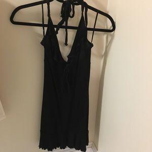 H&M Ruffle Black Halter Dress 4